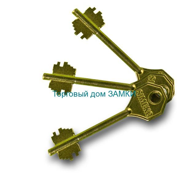 Замок дверной врезной 6-сувальдный БИФ 009 СИМЕКО ригельный: ключи