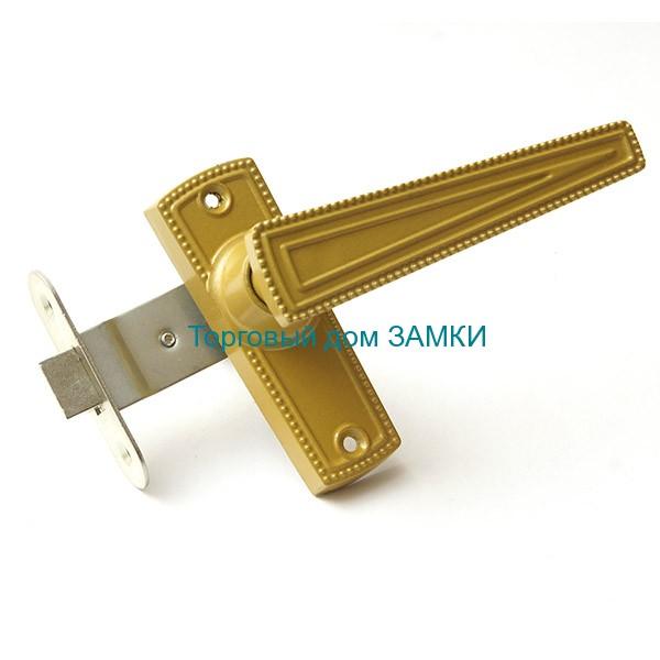 Защелка врезная ЗЩ2-01 ЗЕНИТ дверная золото с ручками