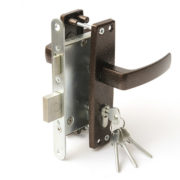 Замок дверной врезной цилиндровый ЗВ4-3.04 ЗЕНИТ медь с ручками