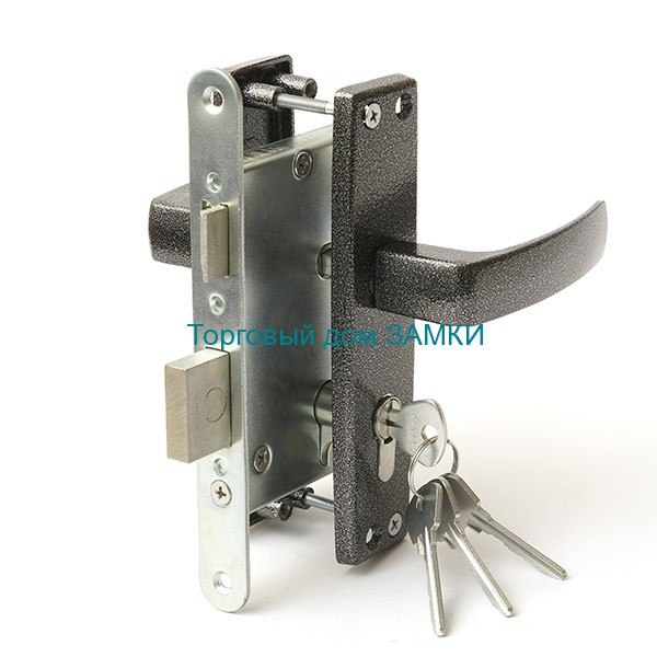 Замок дверной врезной цилиндровый ЗВ4-3.04 ЗЕНИТ серебро с ручками