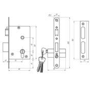 Замок дверной врезной цилиндровый ЗВ4-3.07 ЗЕНИТ с ручками