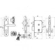 Замок дверной врезной цилиндровый ЗВ7.02 ОМЕГА бронза с ручками и защелкой