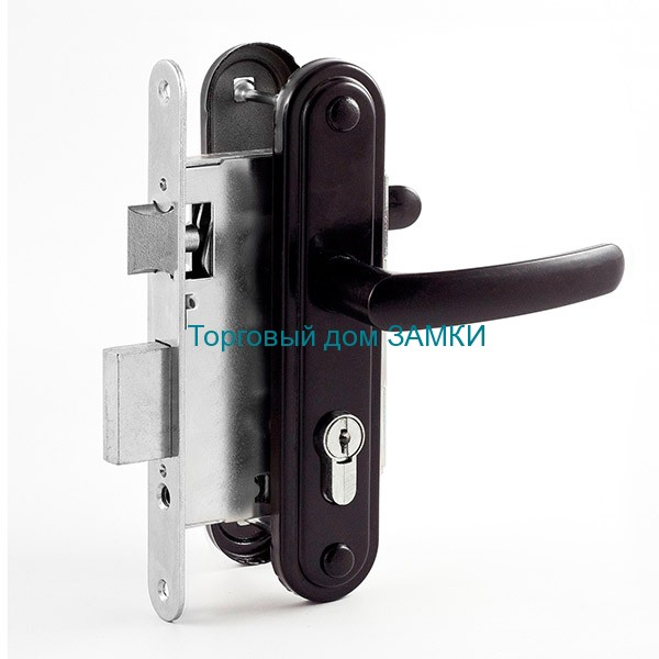 Замок дверной врезной цилиндровый ЗВ7.02 ОМЕГА черный с ручками и защелкой