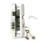 амок дверной врезной цилиндровый ЗВ9-4.2 ЗЕНИТ ригельный белый с ручками