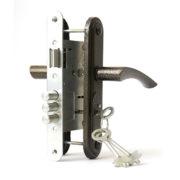 Замок дверной врезной цилиндровый ЗВ9-4.2 ЗЕНИТ ригельный бронза с ручками