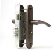 Замок дверной врезной цилиндровый ЗВ9-4.2 ЗЕНИТ ригельный медь с ручками