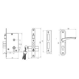 Замок врезной цилиндровый ЗВ4-2.01 ОМЕГА ригельный с ручками