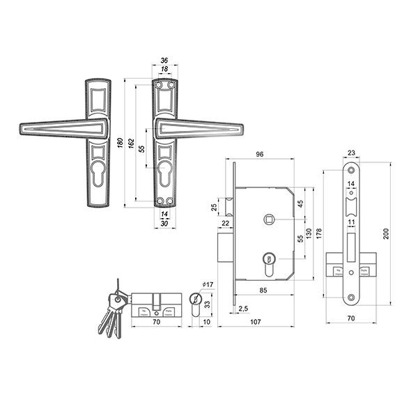 Замок дверной врезной цилиндровый ЗВ7.01 ОМЕГА с ручками и защелкой