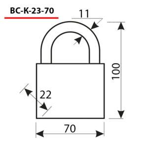 Замок навесной ВС-К-23-70 КРАБ завода ЧАЗ с защитой дужки